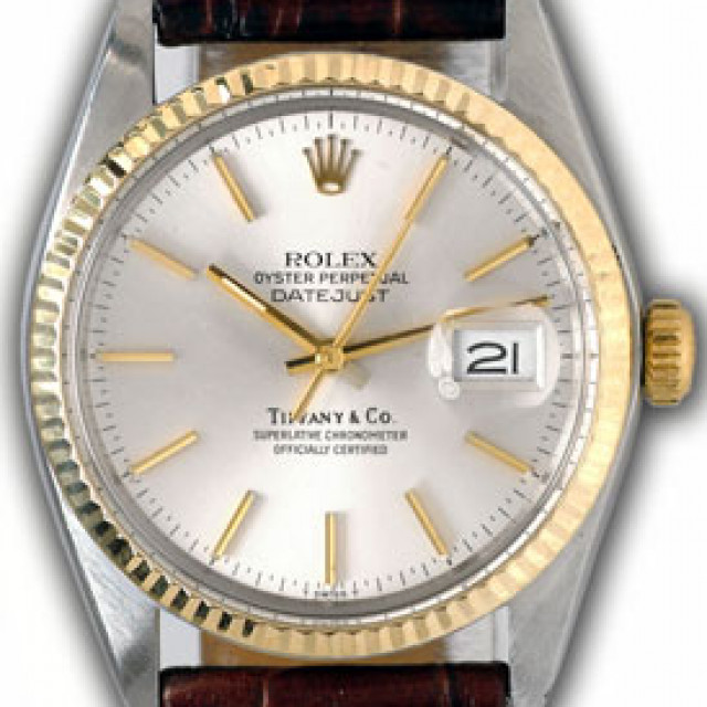 Rolex 16013 Yellow Gold & Steel on Strap, Fluted Bezel Steel with Gold Index