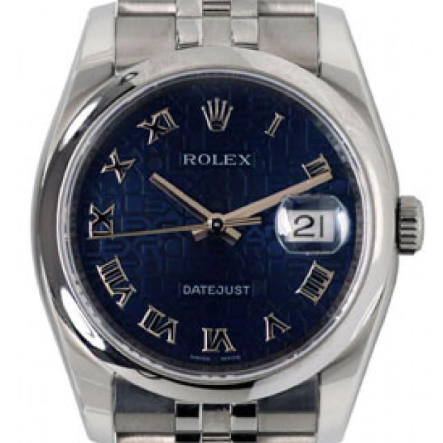 Rolex 116200 Steel on Jubilee, Smooth Bezel Blue with Silver Roman