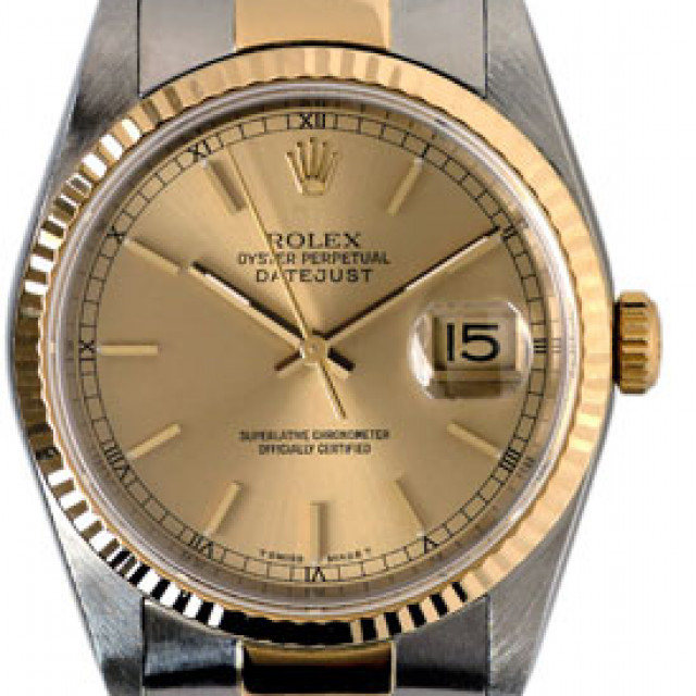 Rolex 16233 Yellow Gold & Steel on Oyster, Fluted Bezel Champagne with Gold Index & Black Arabic