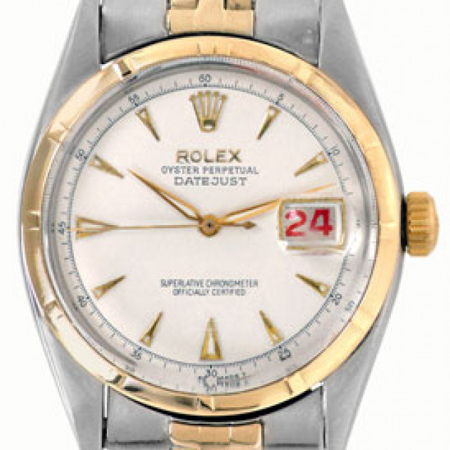 Rolex 6305 Yellow Gold & Steel on Jubilee, Engine Turned Bezel White with Gold Luminous Index