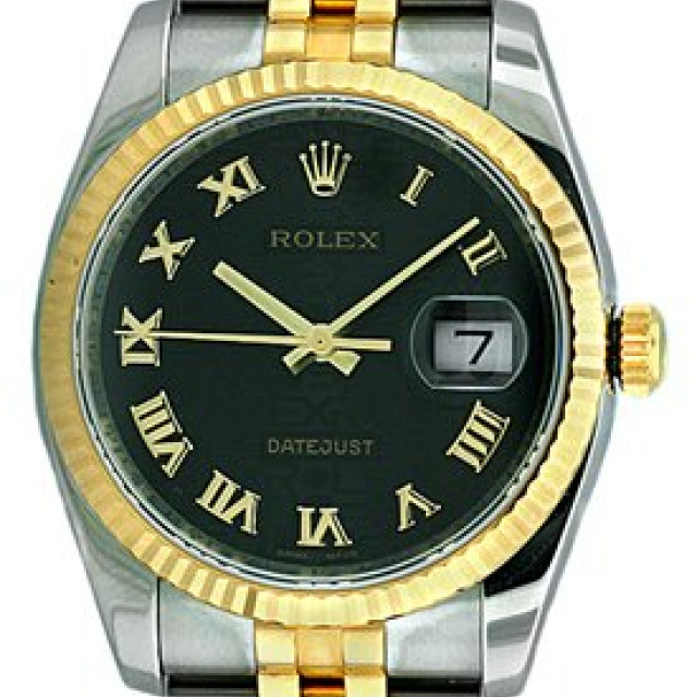 Rolex Datejust 116233 Gold & Steel with Black Dial & Roman Markers
