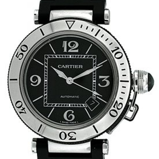 Pre-Owned Cartier Pasha W31077U2 with Black Serti Dial