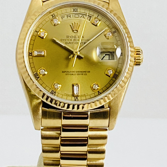 Pre-Owned Diamond Rolex Day-Date 18238 18kt Yellow Gold 36 mm Diamonds
