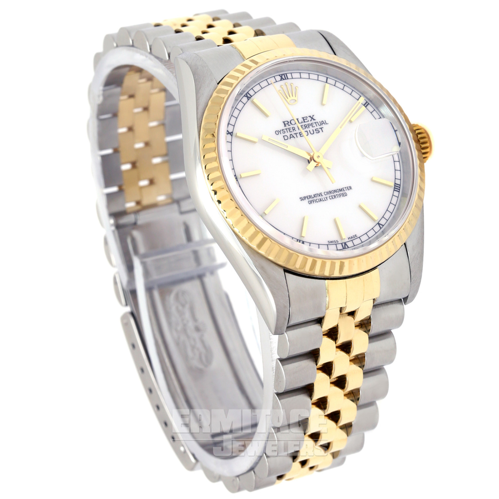 Rolex Datejust 16233 36 mm with Gold Index on White