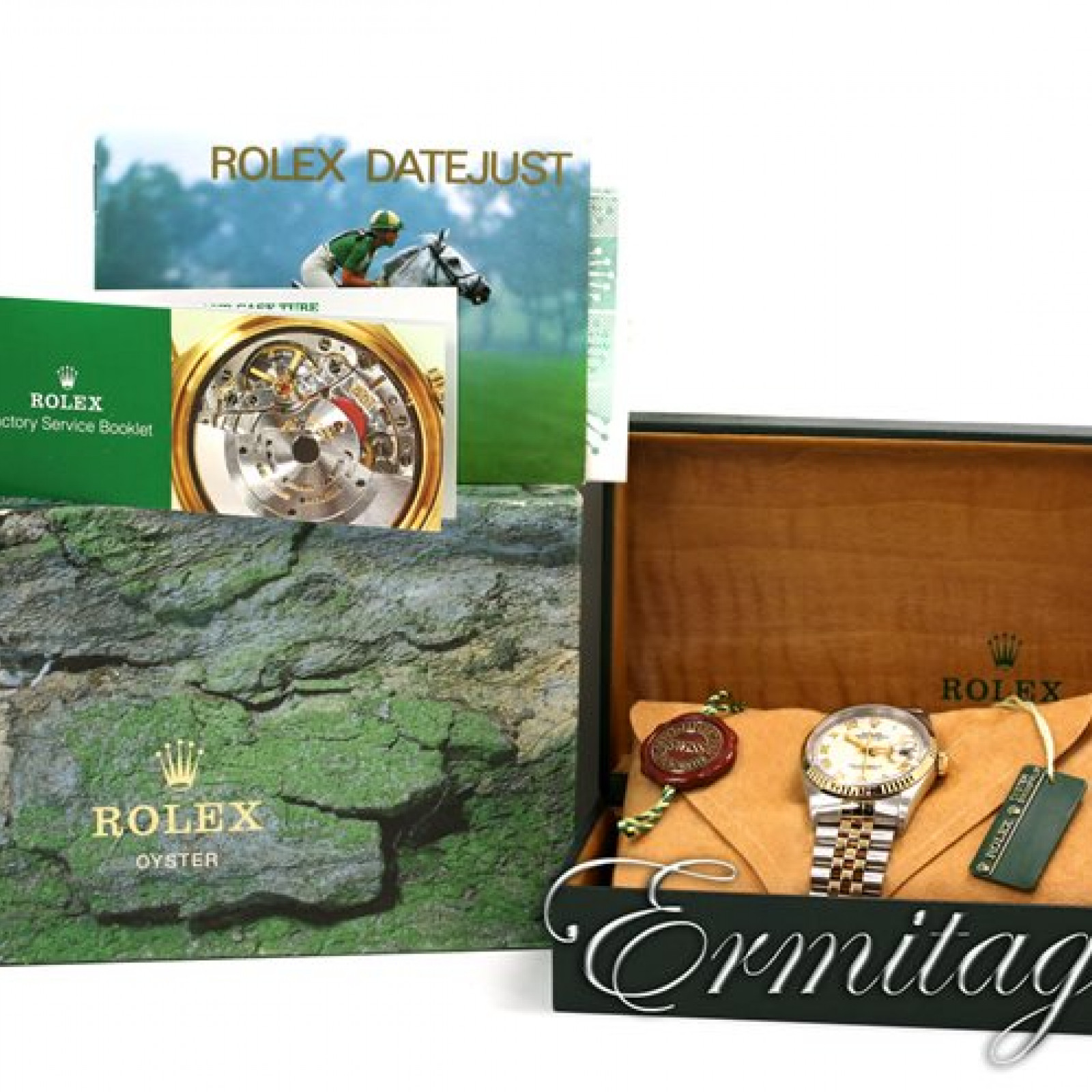 Rolex Datejust Ref 16233 Year 1998 with Pyramid Dial and Gold Roman Markers.
