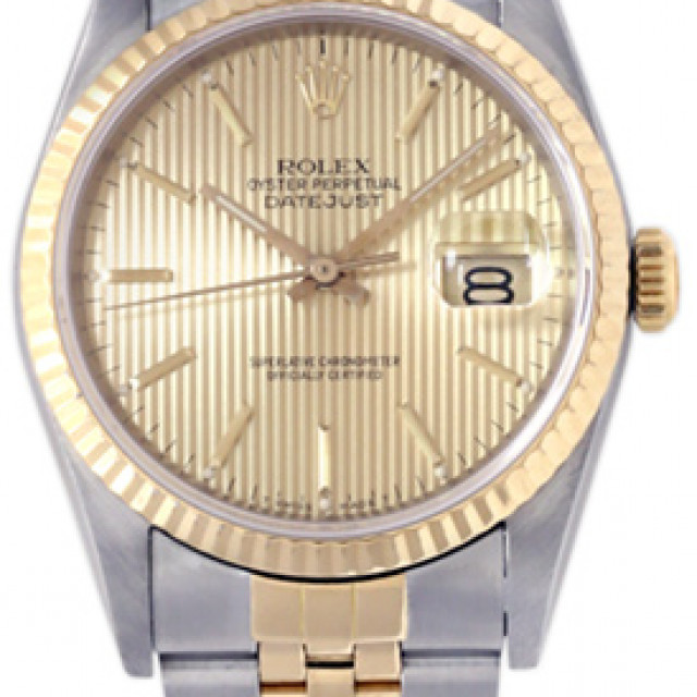 Rolex 16233 Yellow Gold & Steel on Jubilee, Fluted Bezel Champagne Tapestry with Gold Index