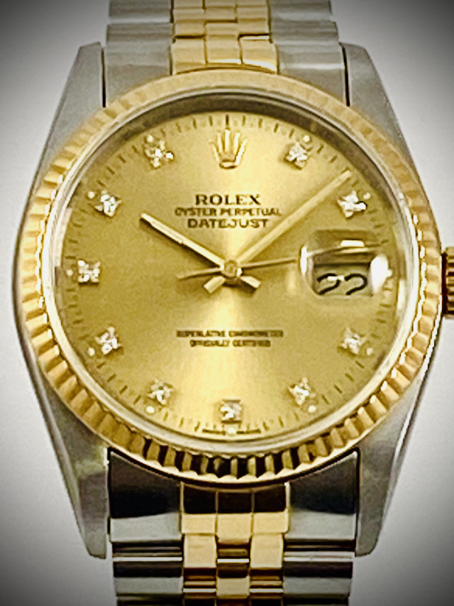 Rolex 16233 Yellow Gold & Steel on Jubilee, Fluted Bezel Champagne Diamond Dial