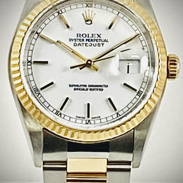Rolex 16233 Yellow Gold & Steel on Oyster White with Gold Index