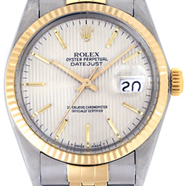 Rolex 16013 Yellow Gold & Steel on Jubilee, Fluted Bezel Steel Tapestry with Gold Index