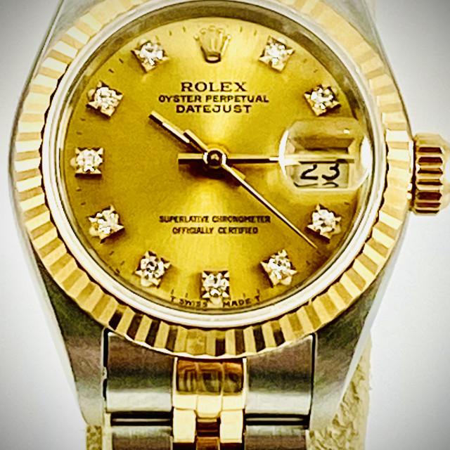 Rolex 69173 Yellow Gold & Steel on Jubilee, Fluted Bezel Champagne Diamond Dial