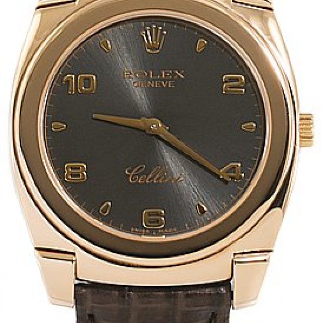 Rolex 5330 Rose Gold on Strap, Smooth Bezel Steel with Gold Arabic & Index