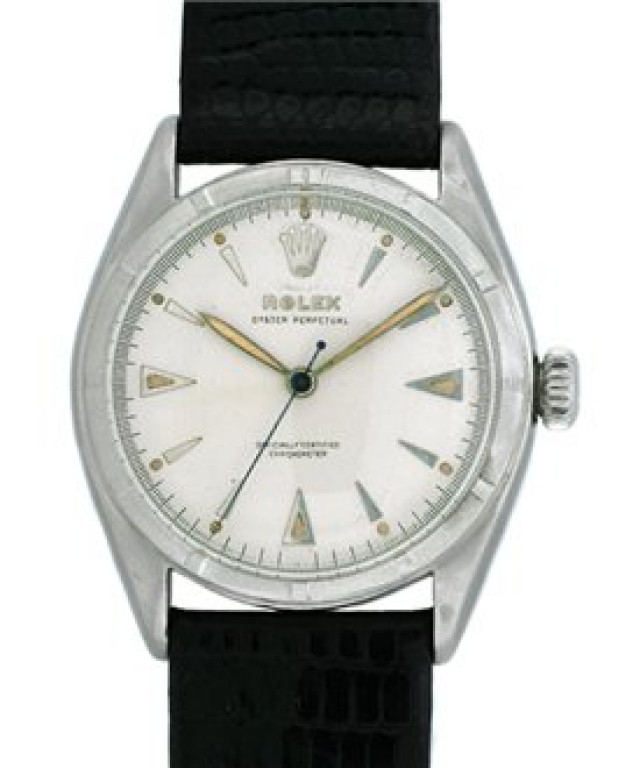 Vintage Rolex Oyster Perpetual Bubbleback 6085 Steel with White Dial