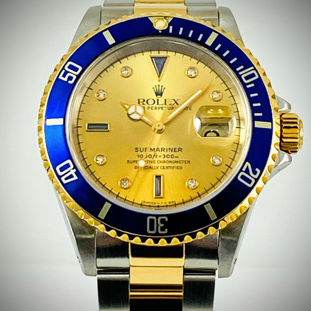 Rolex 16613 Yellow Gold & Steel on Oyster Champagne Diamond Dial