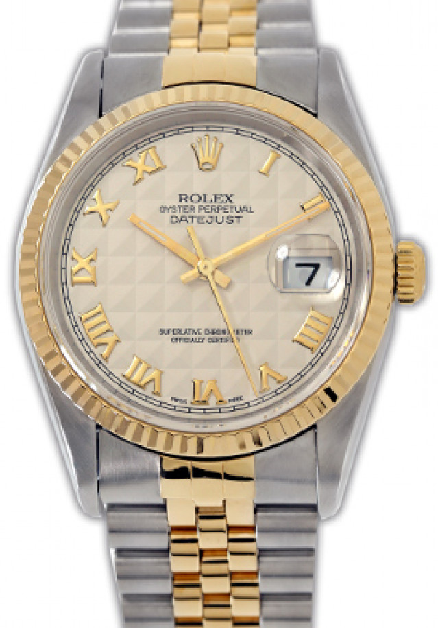 Rolex 16233 Yellow Gold & Steel on Jubilee, Fluted Bezel Ivory Pyramid with Gold Roman