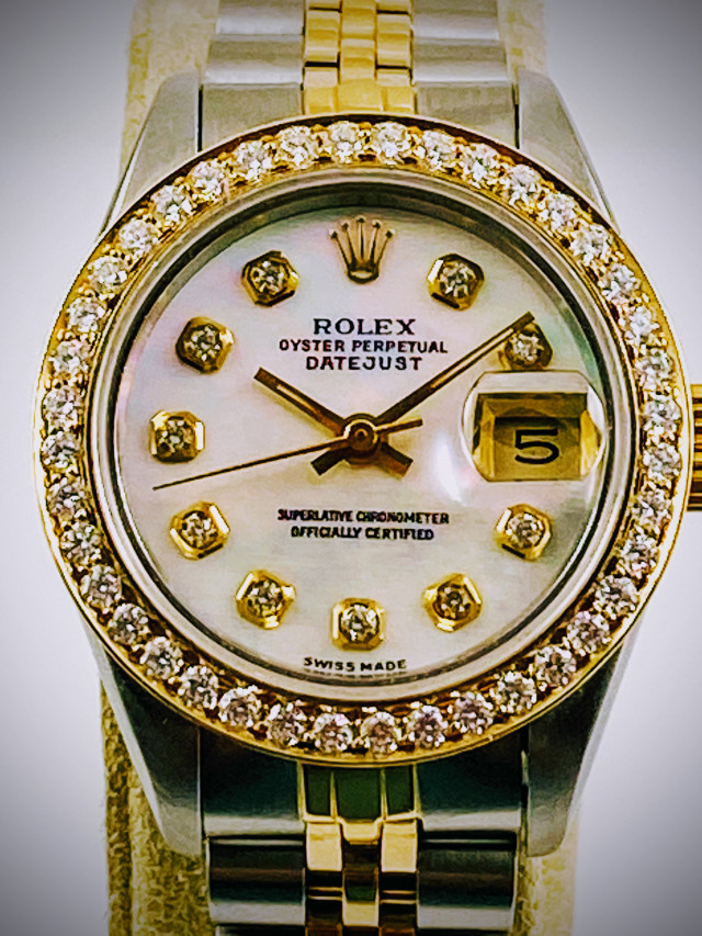 Rolex 69173 Yellow Gold & Steel on Jubilee, Fluted Bezel Mother Of Pearl White Diamond Dial