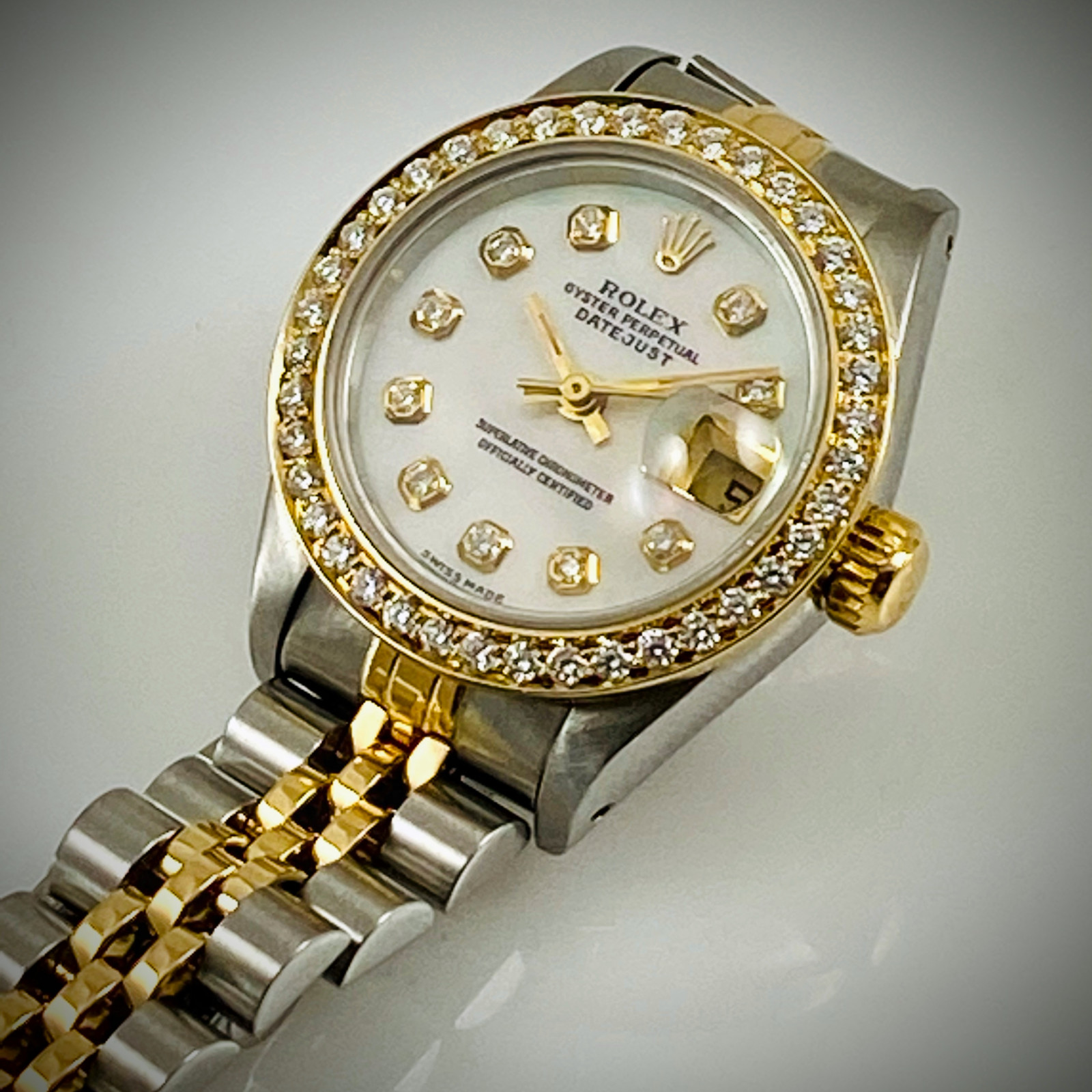 Dimond Rolex Datejust Ref. 69173 Mother Of Pearl Dial