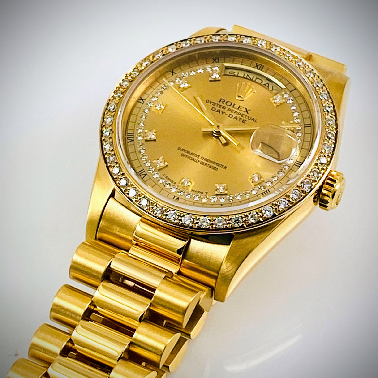 Rolex 18348 Factory Original Diamonds Mint Condition.