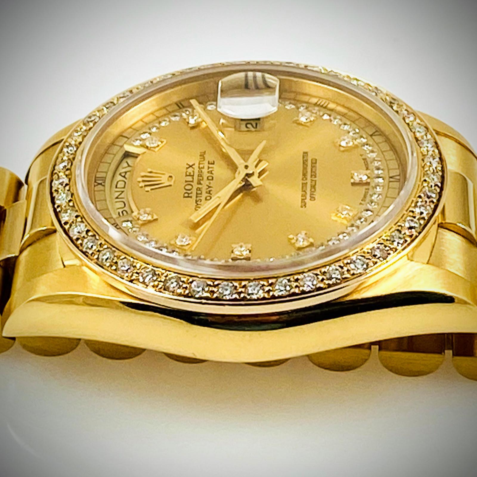 Rolex 18348 Factory Original Diamonds Mint Condition.