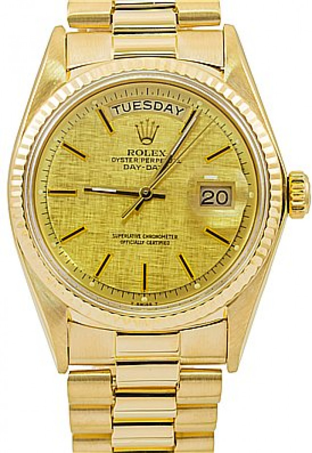 Rolex 1803 Yellow Gold on President, Fluted Bezel Champagne with Gold Index
