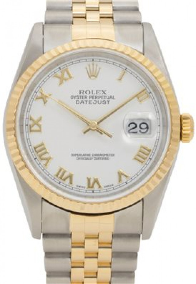 Rolex 16233 Yellow Gold & Steel on Jubilee, Fluted Bezel White with Gold Roman