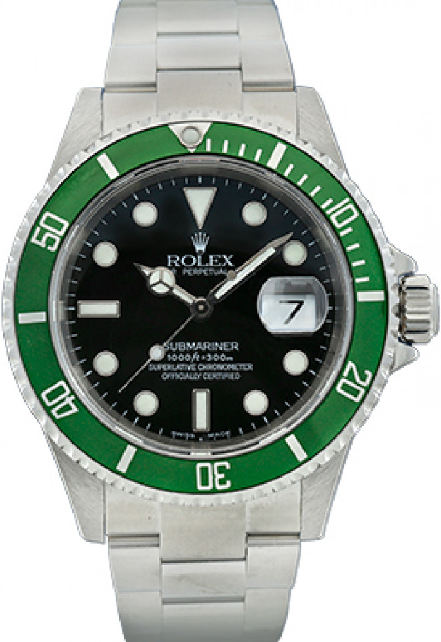 """Authentic Rolex Submariner 16610LV """"Kermit"""" Engraved Rehaut 2008"""