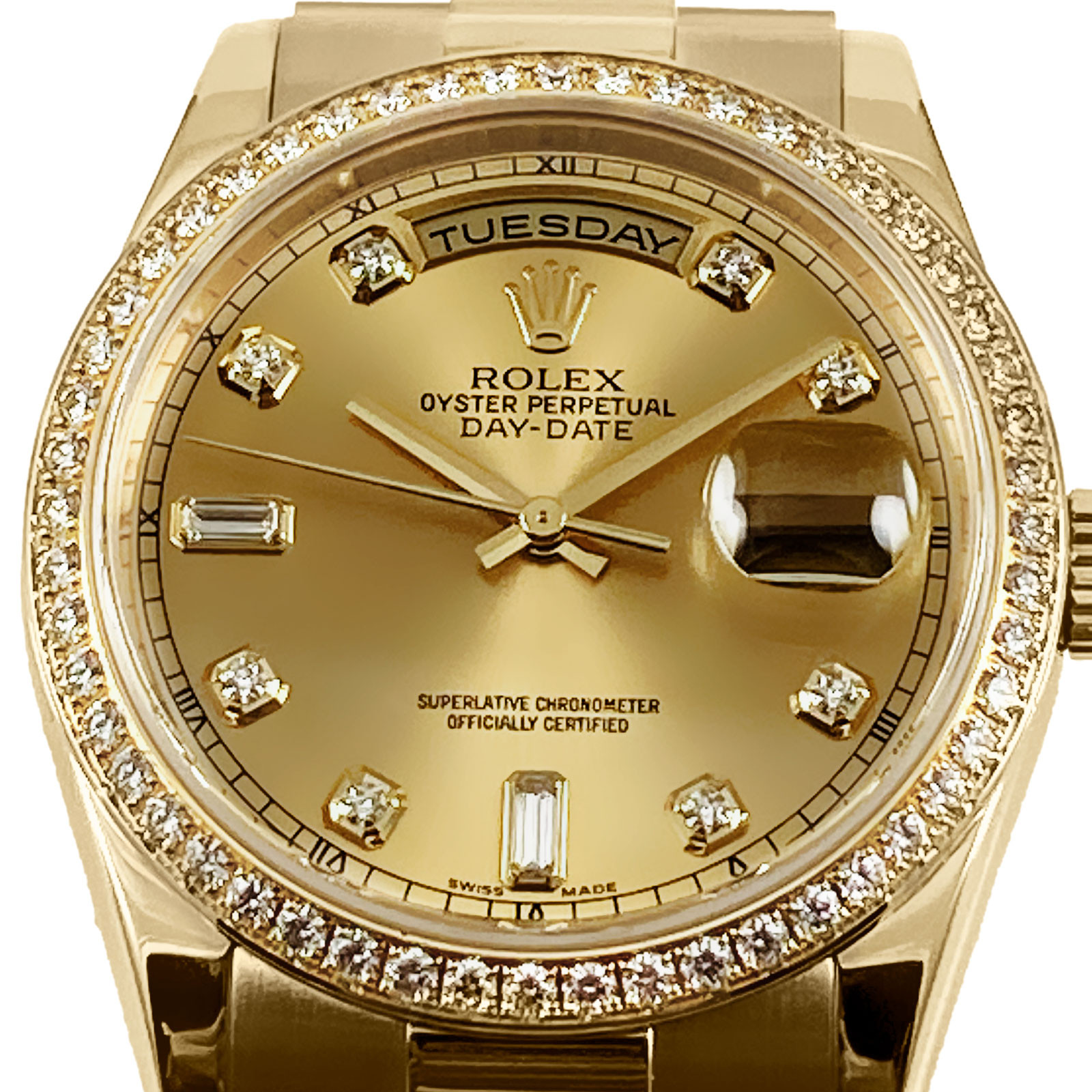 Rolex Day-Date 118348 President Factory Diamonds