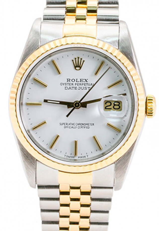 Rolex 16233 Yellow Gold & Steel on Jubilee, Fluted Bezel White with Gold Index