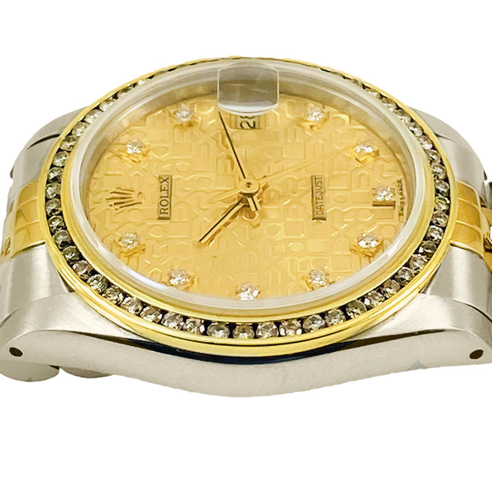 Mid Size Rolex Datejust 68273 Custom Set Diamond bezel