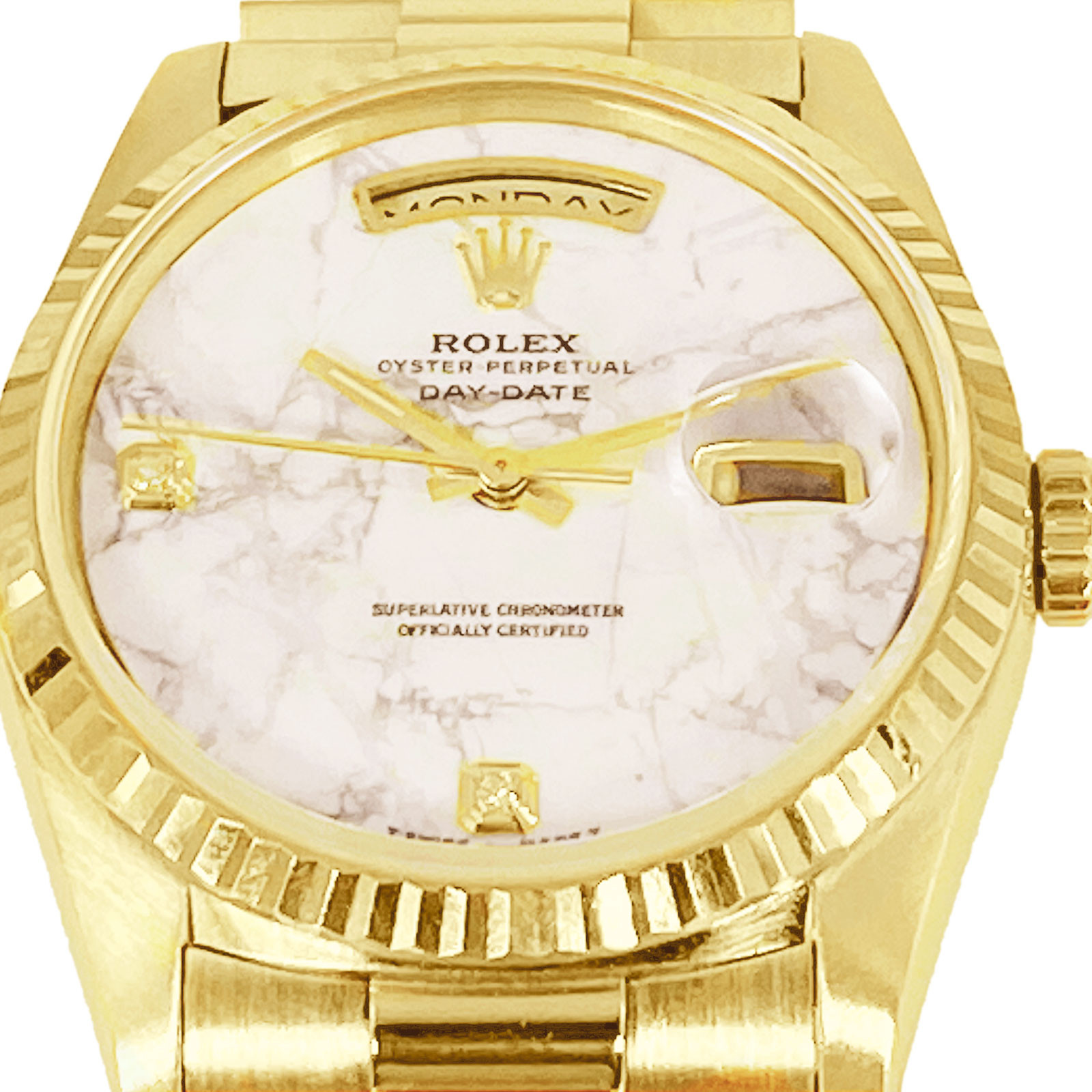 Rolex 18238 Day Date President with Marable White Dial