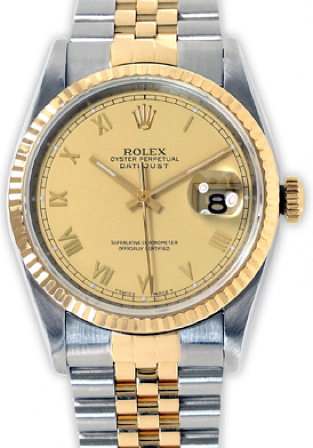 Rolex 16233 Yellow Gold & Steel on Jubilee, Fluted Bezel Champagne with Gold Index