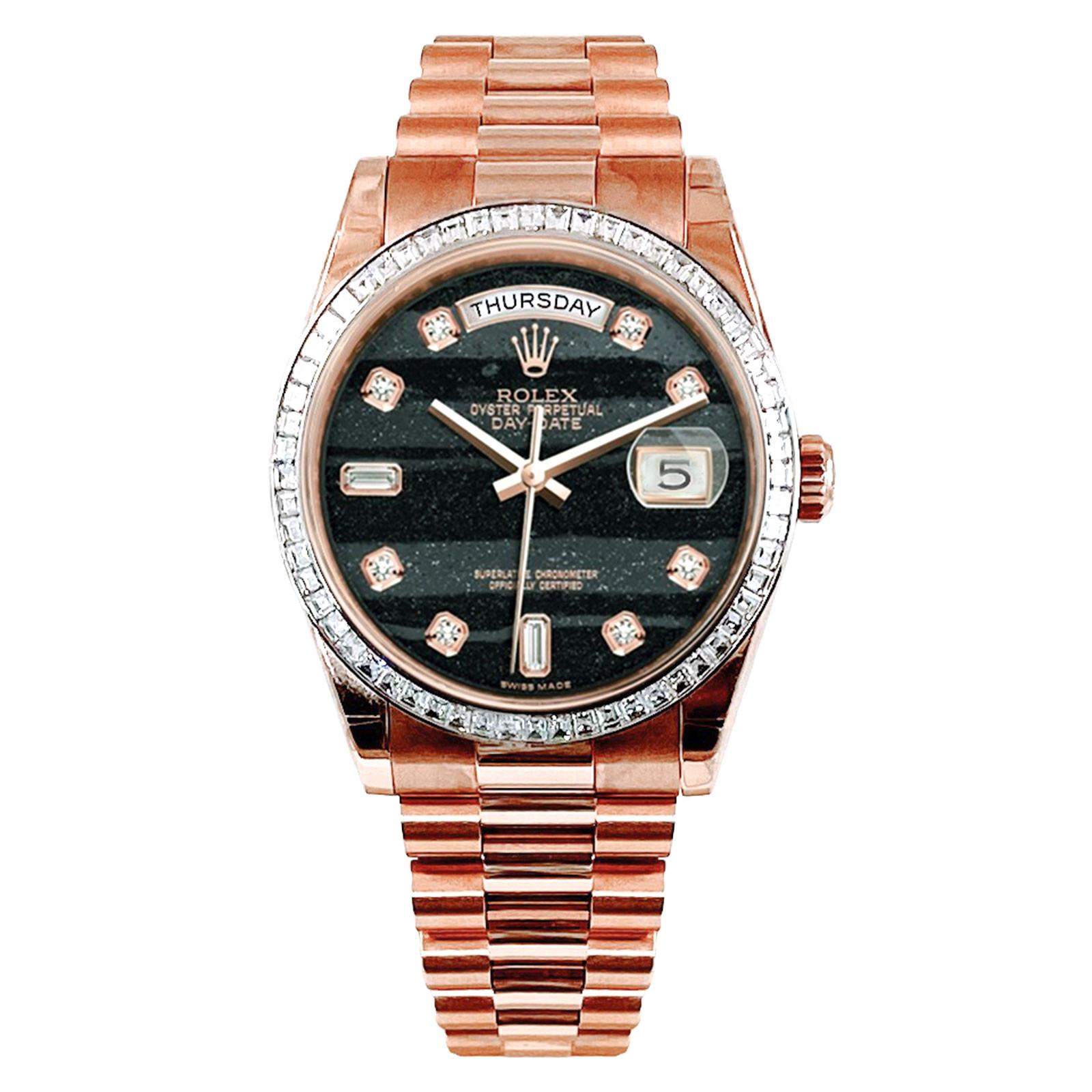 Rare Rolex Day Date President 118395BR Unworn 2021 Ferrite Diamond Dial Baguette Diamond Bezel