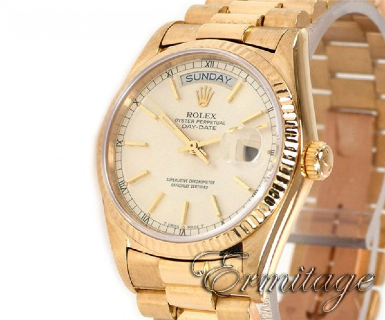 Rolex Day-Date 18038 Gold Silver Dial 1987