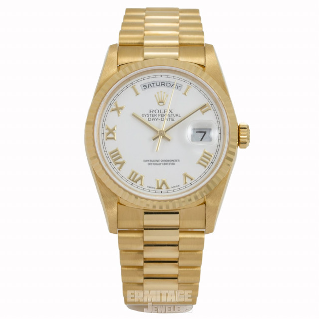 Rolex 18238 Yellow Gold on President, Fluted Bezel White with Gold Roman